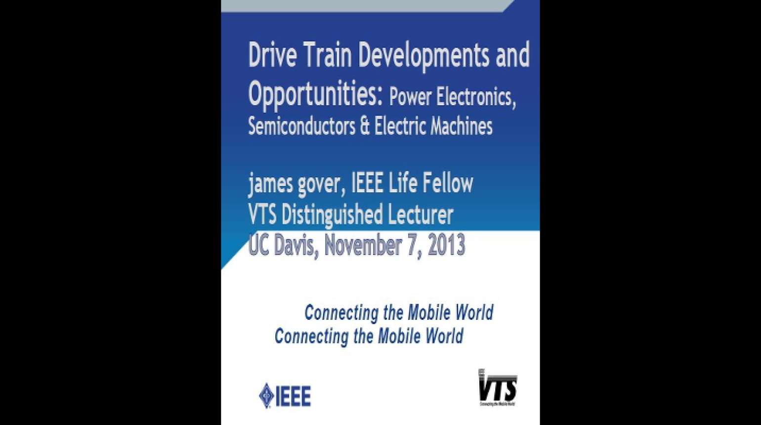 Video - Drive Train Developments and Opportunities: Power Electronics, Semiconductors & Electric Machines