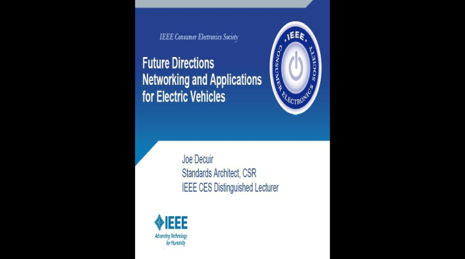 Video - Future Directions Networking and Applications for Electric Vehicles