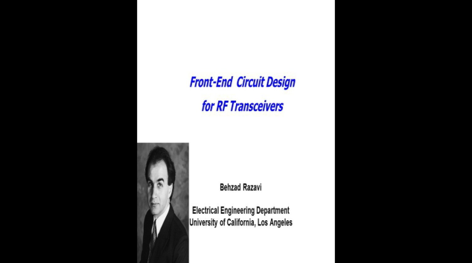 Front End Circuit Design for RF Transceivers Video