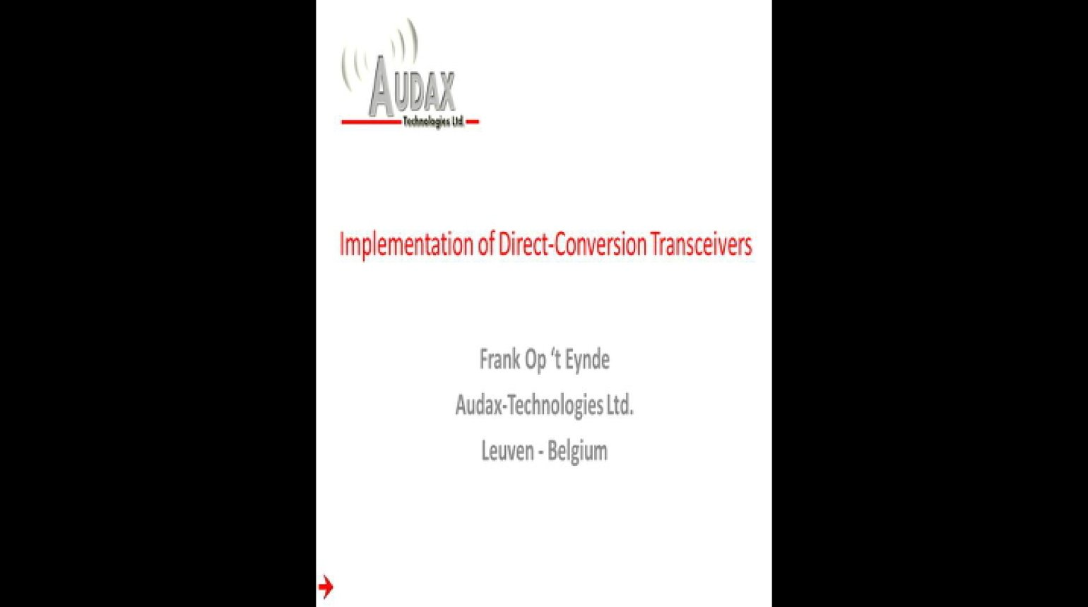 Implementation of Direct Conversion Transceivers Video