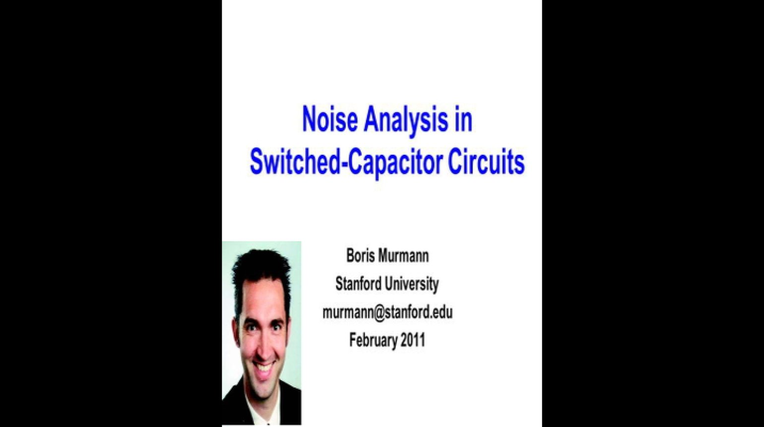 Noise Analysis in Switched Capacitor Circuits Video