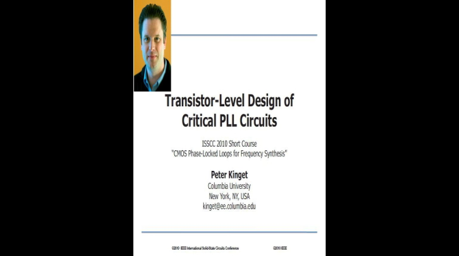 Transistor-Level Design of Critical PLL Circuits Video