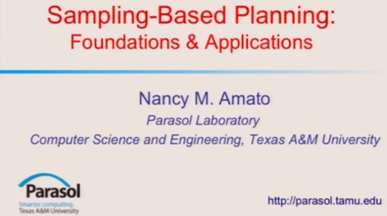 Sampling-Based Planning Foundations & Applications