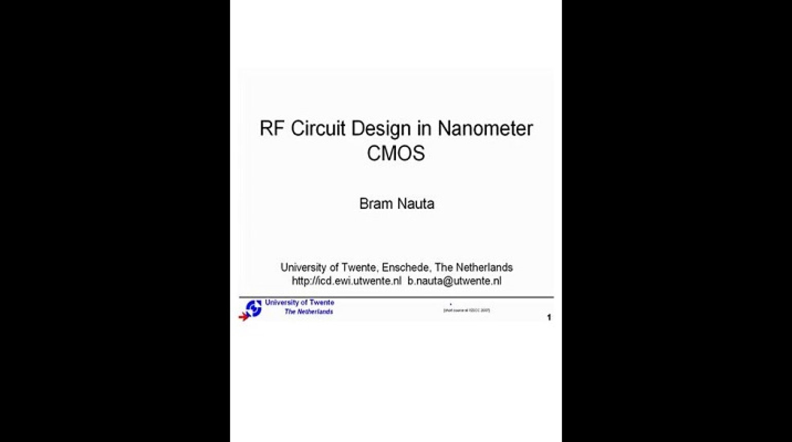 RF Circuit Design in Nanometer CMOS Video