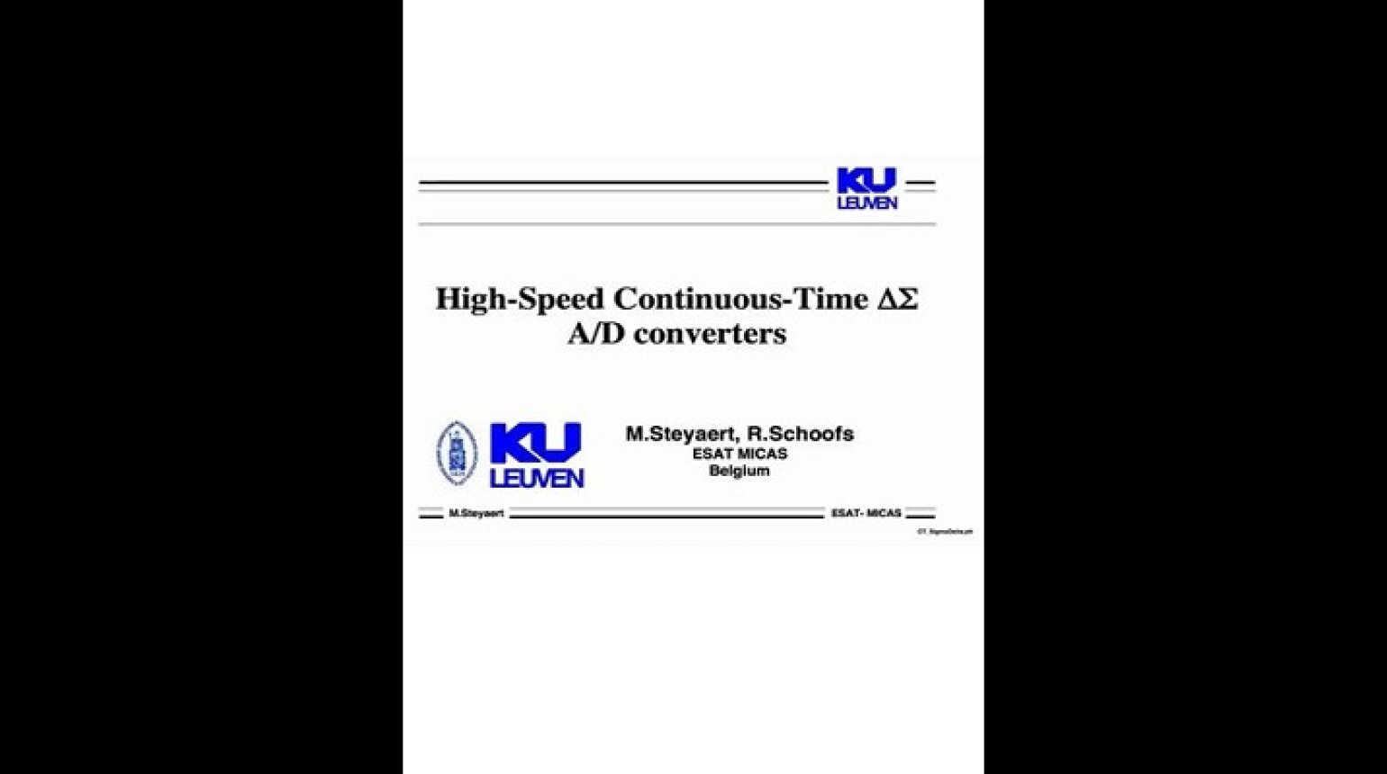 High-Speed Continuous-Time Delta Sigma A/D Converters Video
