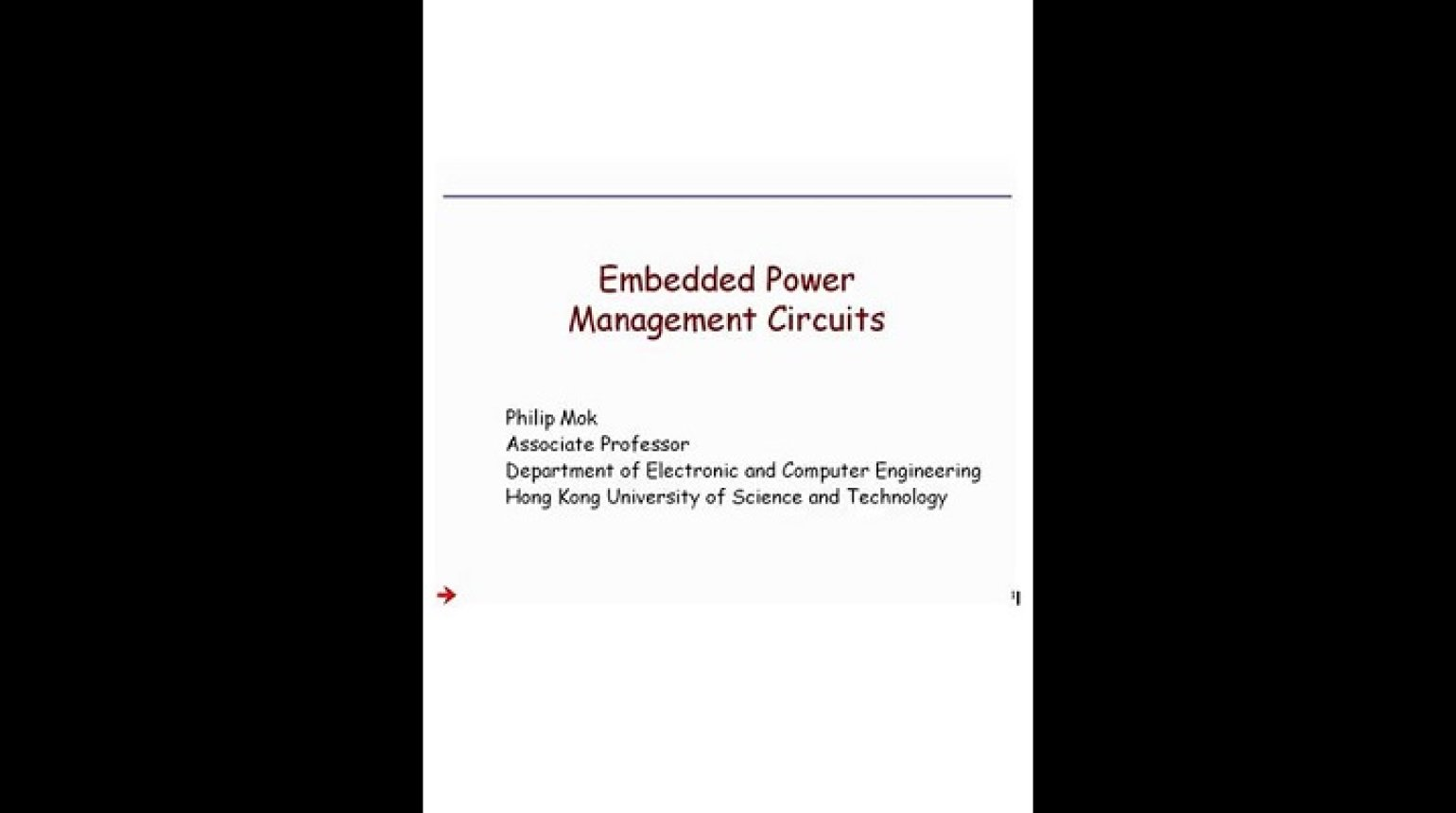 Embedded Power Management Circuits Video