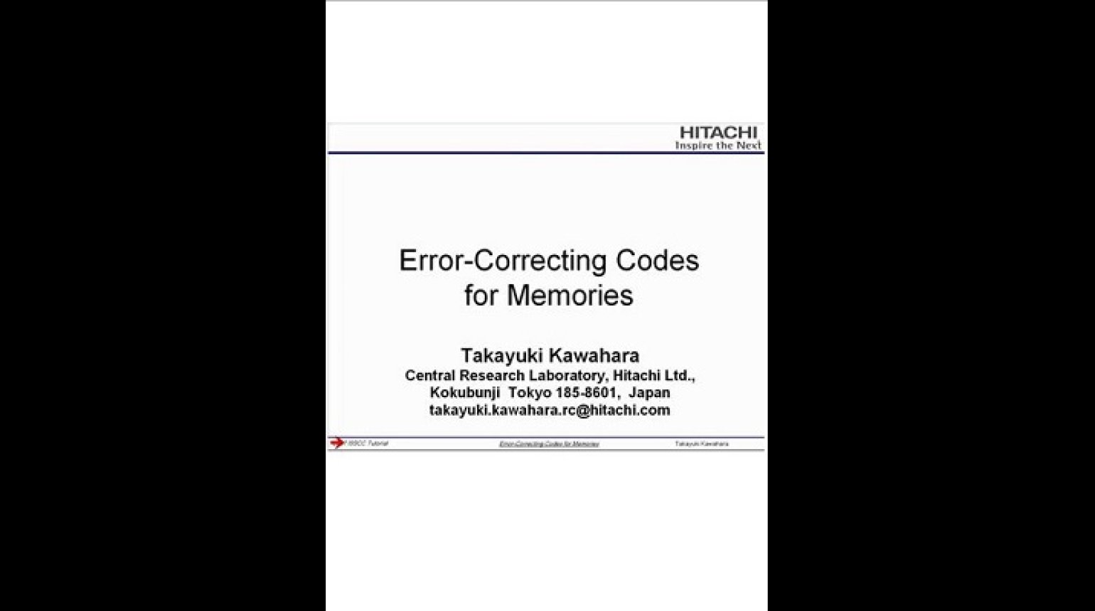 Error-Correcting Codes for Memories Video