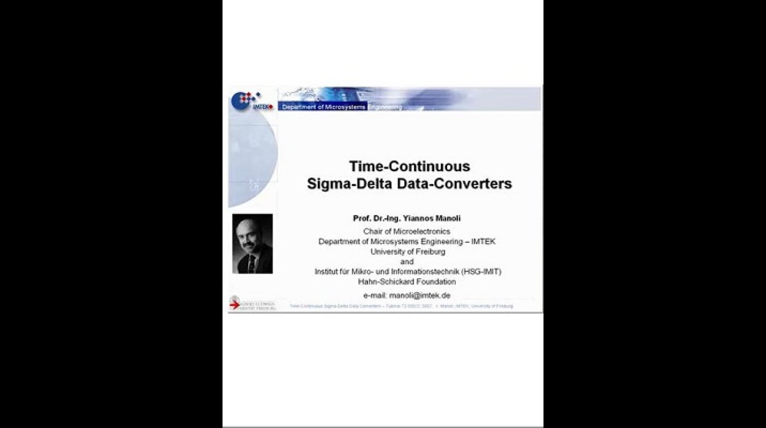 Time-Continuous Sigma-Delta Data-Converters Video