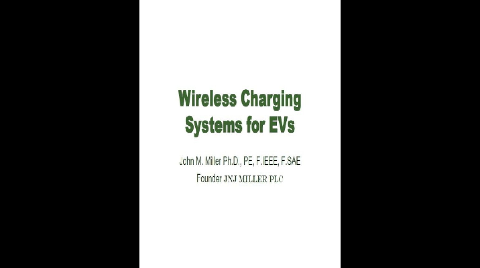 Video - Wireless Charging Systems for EVs