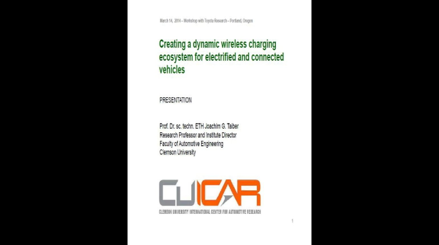 Video - How to Create an Ecosystem for Dynamic Wireless Charging of Electrified Vehicles