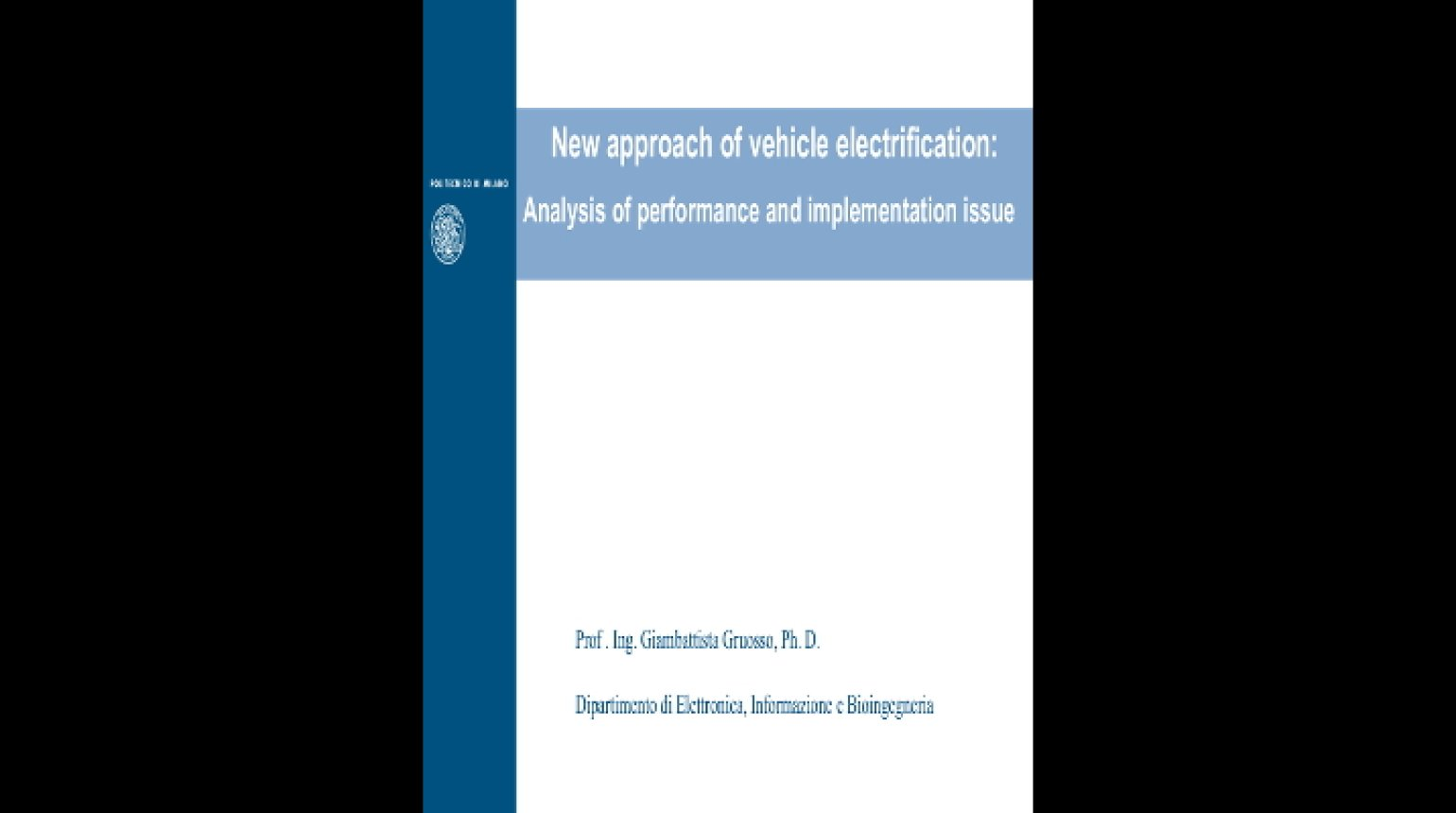 Video - New Approach of Vehicle Electrification: Analysis of Performance and Implementation Issue