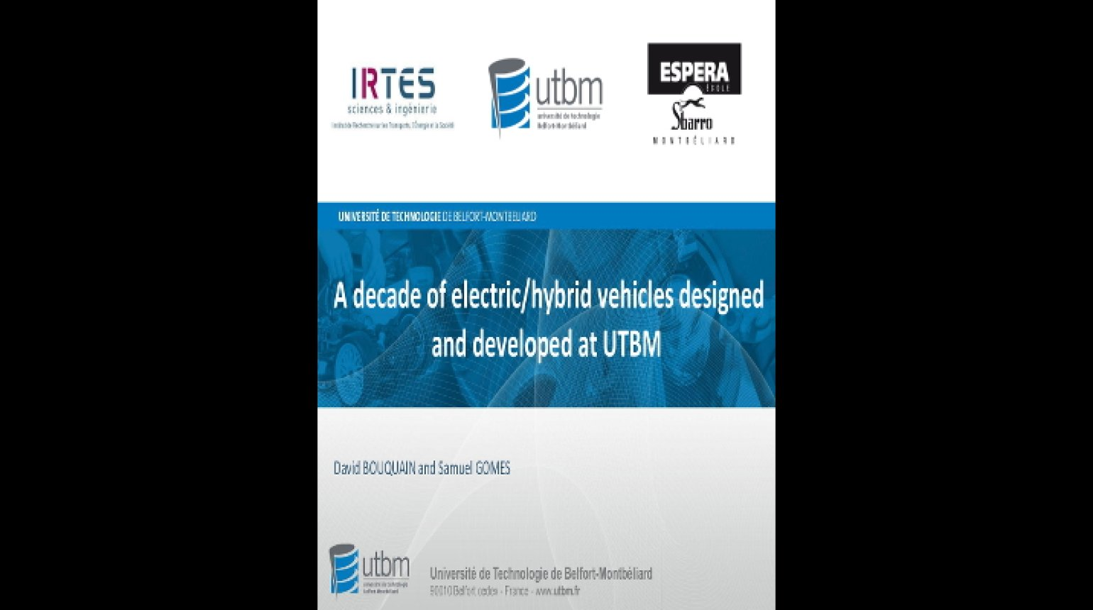 Video - A Decade of Electric/Hybrid Vehicles Design and Development at UTBM