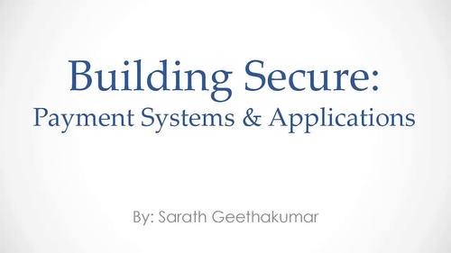 Building Security into Payment Systems and Applications