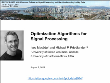 Optimization Algorithms for Signal Processing