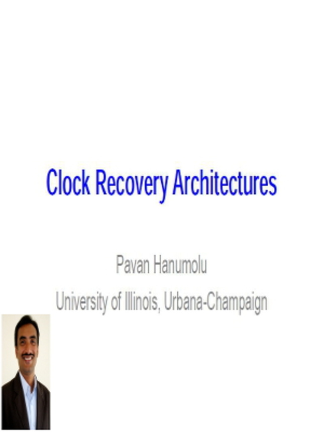 Clock Recovery Architectures Video