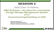 Energy Storage Tutorial: Session 3 of 4 - Software and the Need for a Complete Energy Storage Management System
