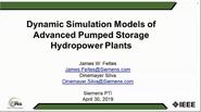 Dynamic Simulation Models of Advanced Pumped Storage Hydropower Plants