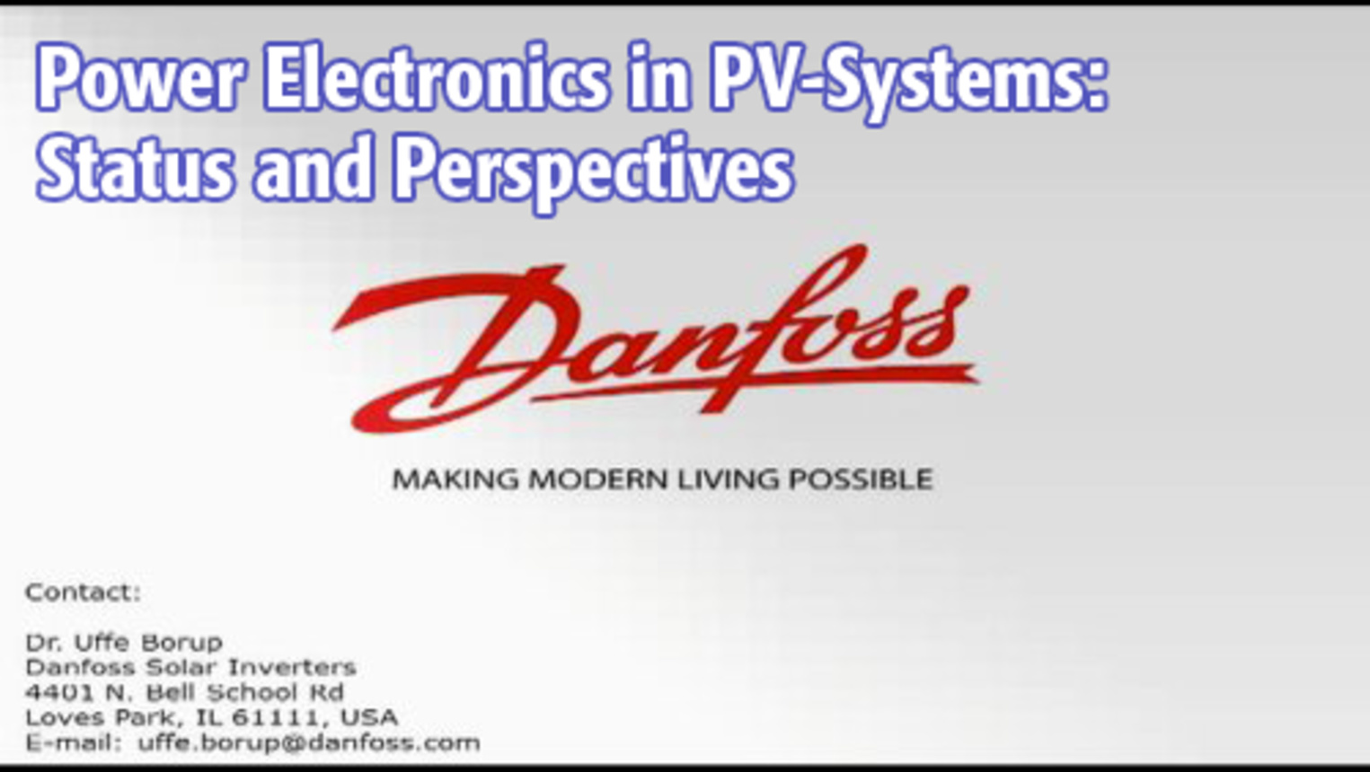 Power Electronics in PV-Systems: Status and Perspectives