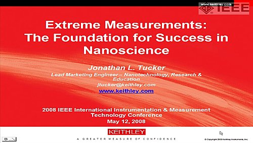 Tutorial of Jonathan Tucker on measurements in nanoscience