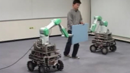 Handling of a Single Object by Multiple Mobile Robots based on Caster-Like Dynamics