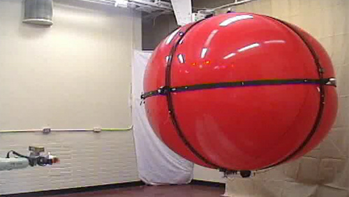 Control of a Fully-Actuated Airship for Satellite Emulation