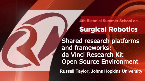 Surgical Robotics: Shared research platforms and frameworks - da Vinci Research Kit Open Resource Environment