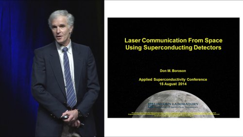 Laser Communication From Space Using Superconducting Detectors - ASC-2014 Plenary series - 12 of 13 - Friday 2014/8/15