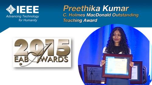 HKN Member Preethika Kumar Receives Award at 2015 EAB Awards Ceremony