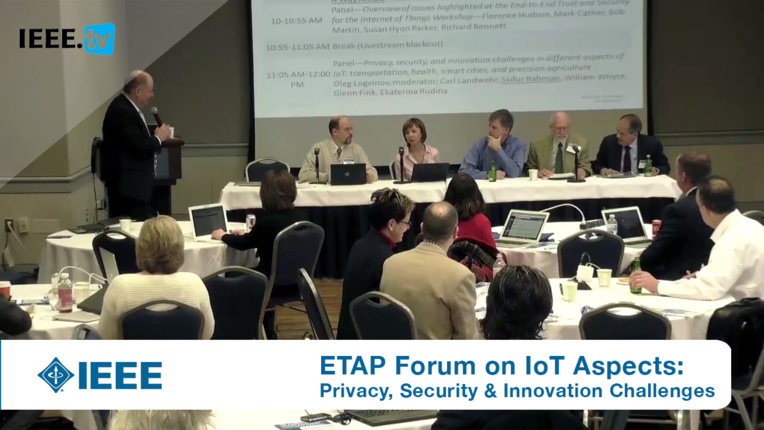 Privacy, security, and innovation challenges in different aspects of  IoT - Panel from ETAP Forum, February 2016