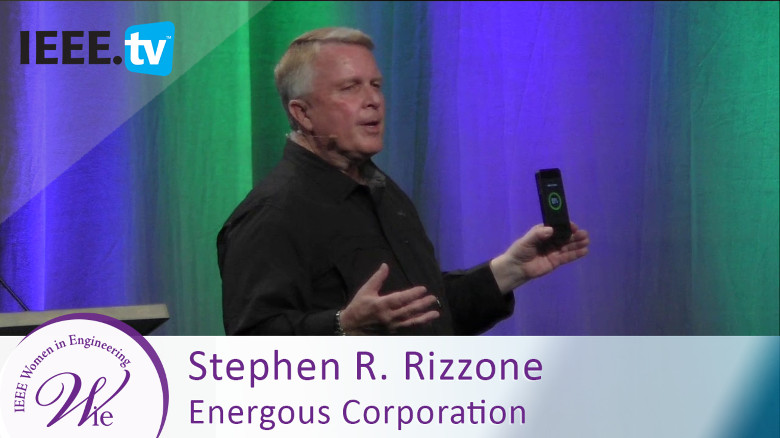 Energous Corporation President Stephen Rizzone demonstrates wireless mobile device charging - 2016 Women in Engineering Conference