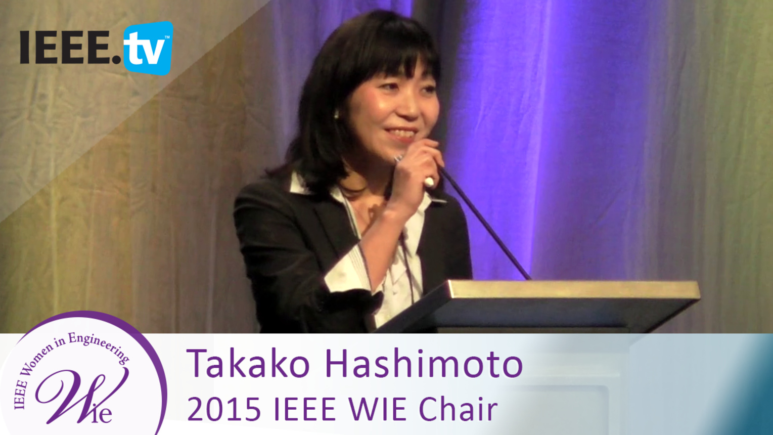 Chair Takako Hashimoto presents the benefits of WIE membership - 2016 Women in Engineering Conference
