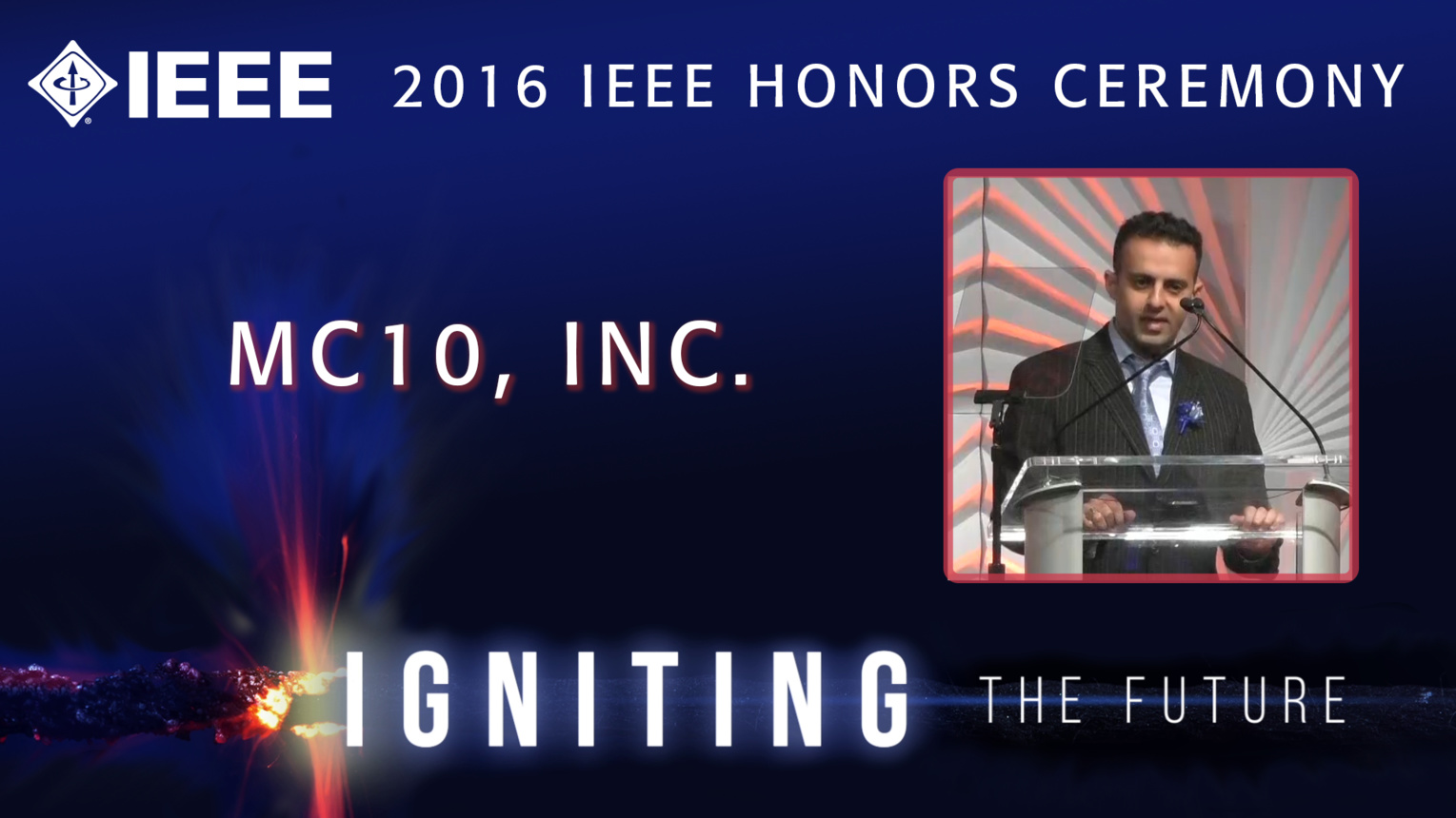 Roozbeh Ghaffari of MC10 accepts the IEEE Spectrum Emerging Technology Award - Honors Ceremony 2016