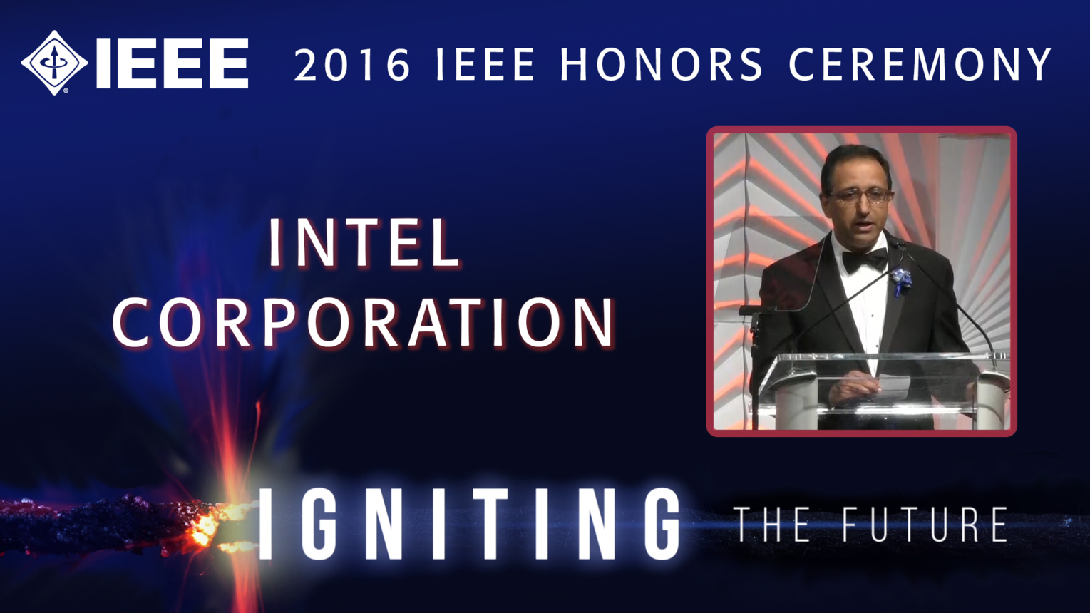 Kaizad Mistry of Intel accepts the IEEE Corporate Innovation Award - Honors Ceremony 2016