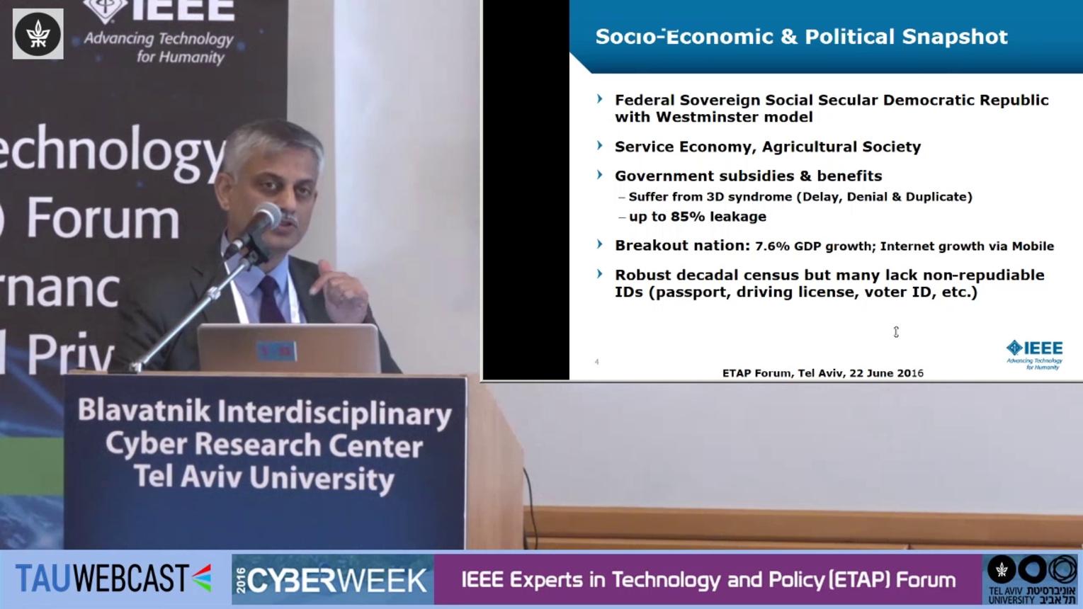 Keynote Deepak Maheshwari - India Biometrics - ETAP Forum Tel Aviv 2016