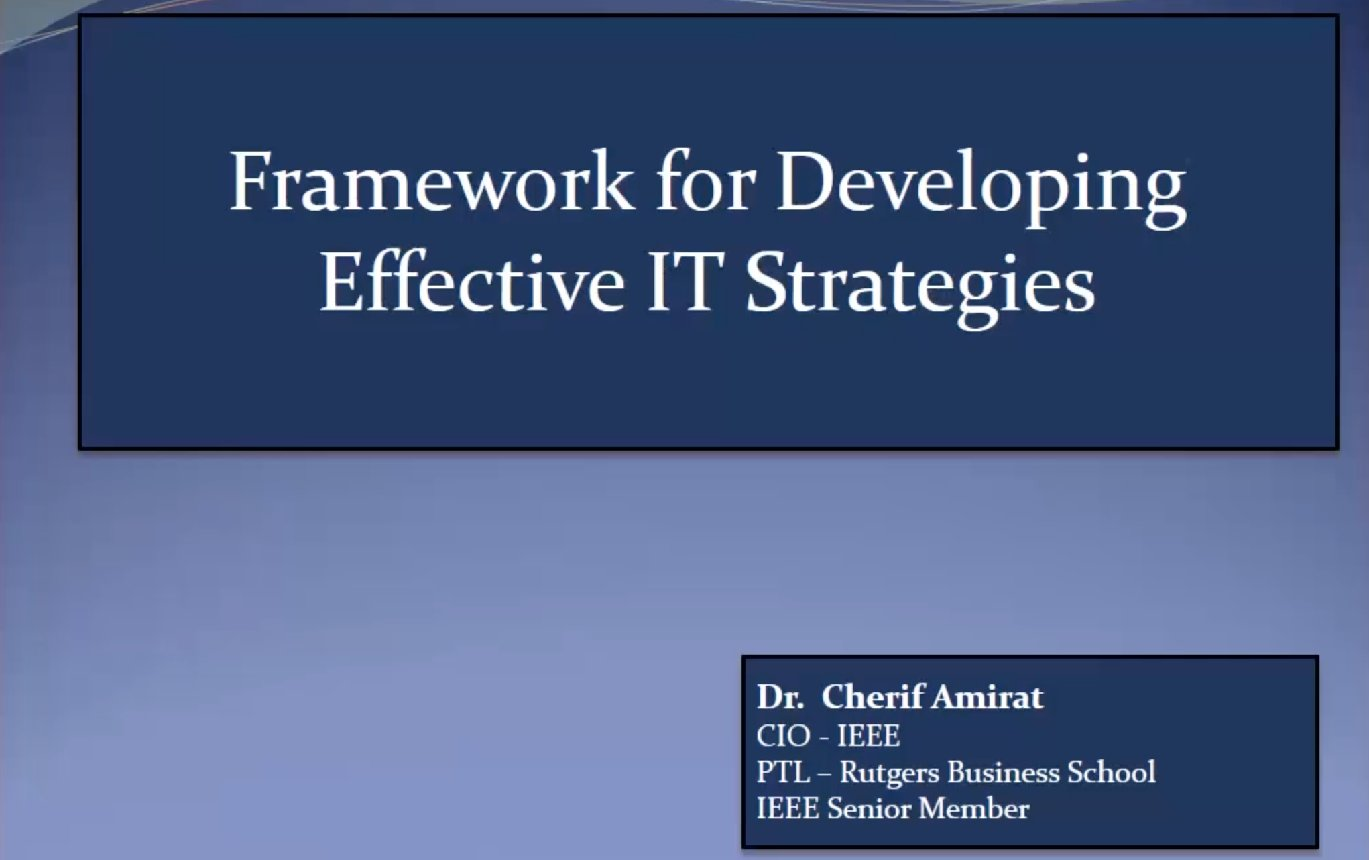 A Framework for Developing Effective IT Strategies - Cherif Amirat