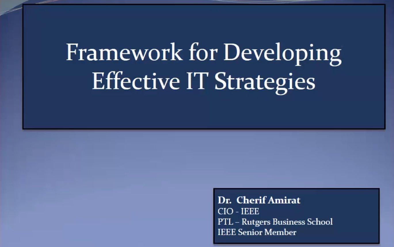 A Framework for Developing Effective IT Strategies - Cherif Amirat