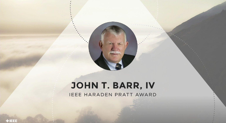 John T. Barr, IV accepts the IEEE Haraden Pratt Award - Honors Ceremony 2017