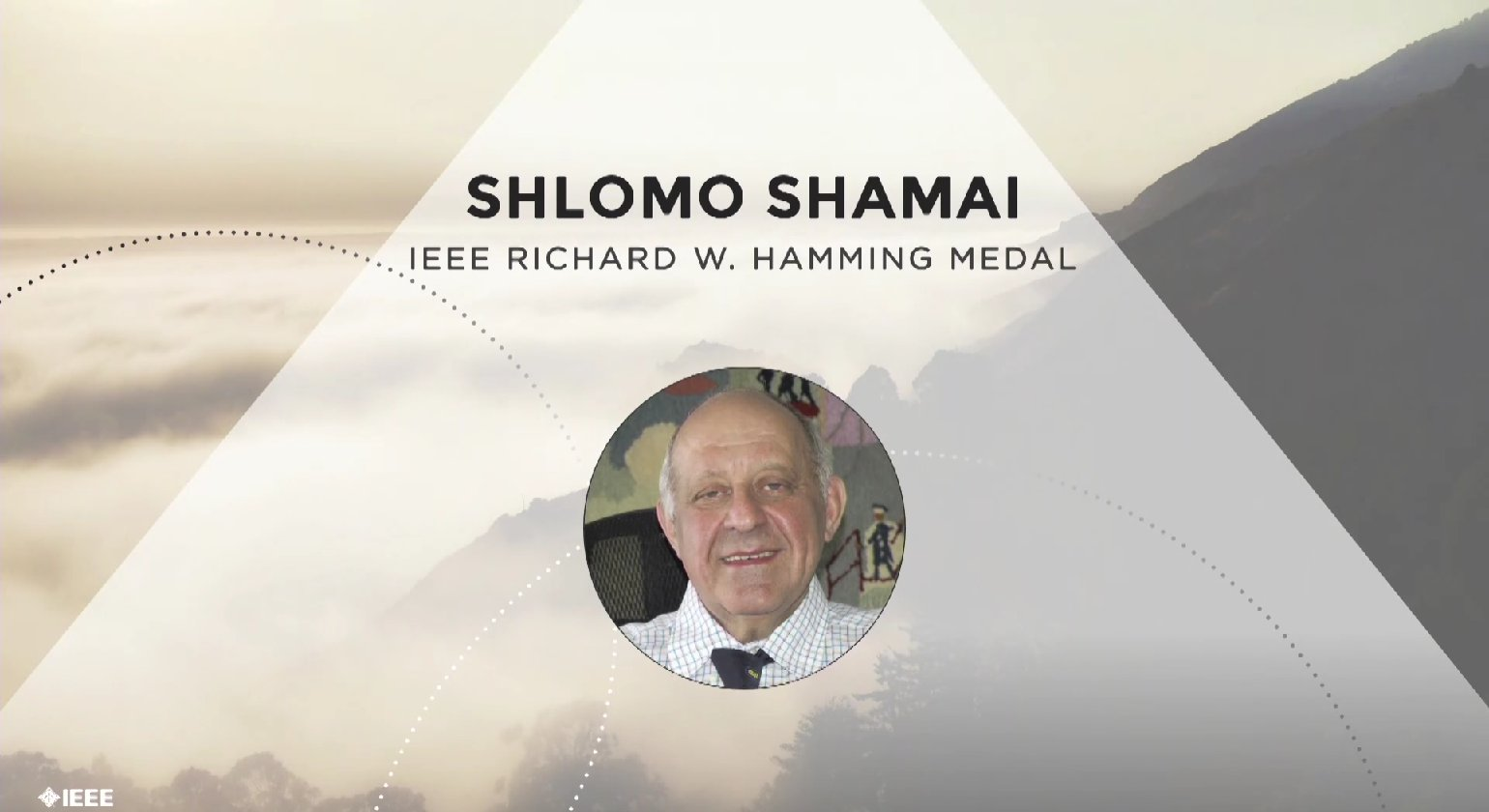 Shlomo Shamai accepts the IEEE Richard W. Hamming Medal - Honors Ceremony 2017