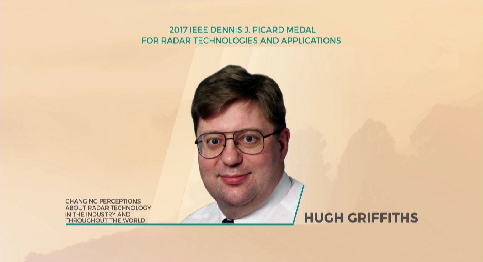 Hugh Griffiths accepts the IEEE Dennis J. Picard Medal for Radar Technologies and Applications - Honors Ceremony 2017
