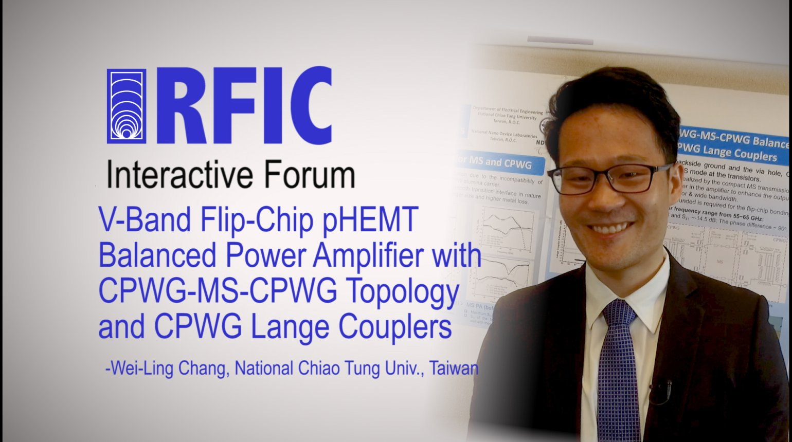 V-Band Flip-Chip pHEMT Balanced Power Amplifier with CPWG-MS-CPWG Topology and CPWG Lange Couplers: RFIC Interactive Forum 2017