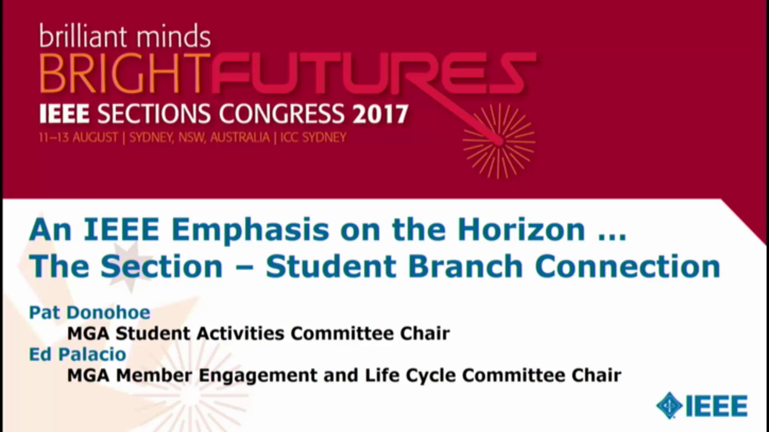 Section-Student Branch Connection - Pat Donohoe - Brief Sessions: Sections Congress 2017
