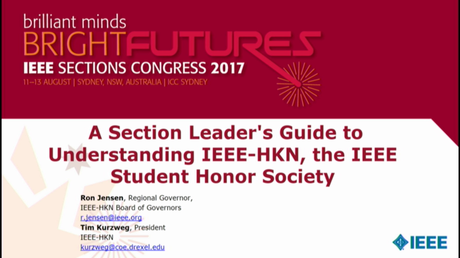 Section Leader's Guide to IEEE-HKN - Ron Jensen and Tim Kurzweg - Brief Sessions: Sections Congress 2017