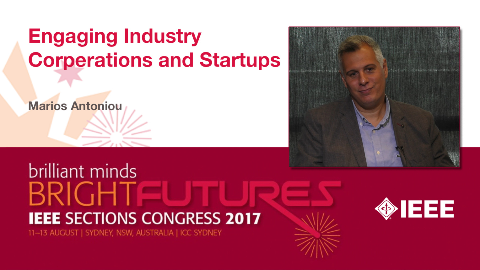 Marios Antoniou: Engaging Industry Corporations and Startups - Studio Tech Talks: Sections Congress 2017