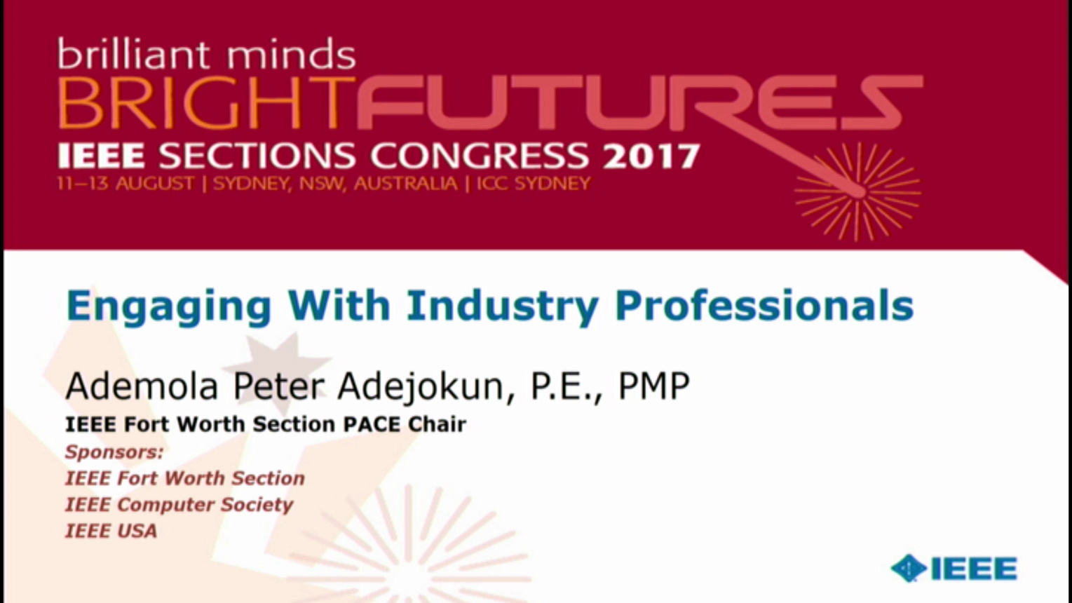 Engaging with Industry Professionals - Ademola Adejokun - Brief Sessions: Sections Congress 2017