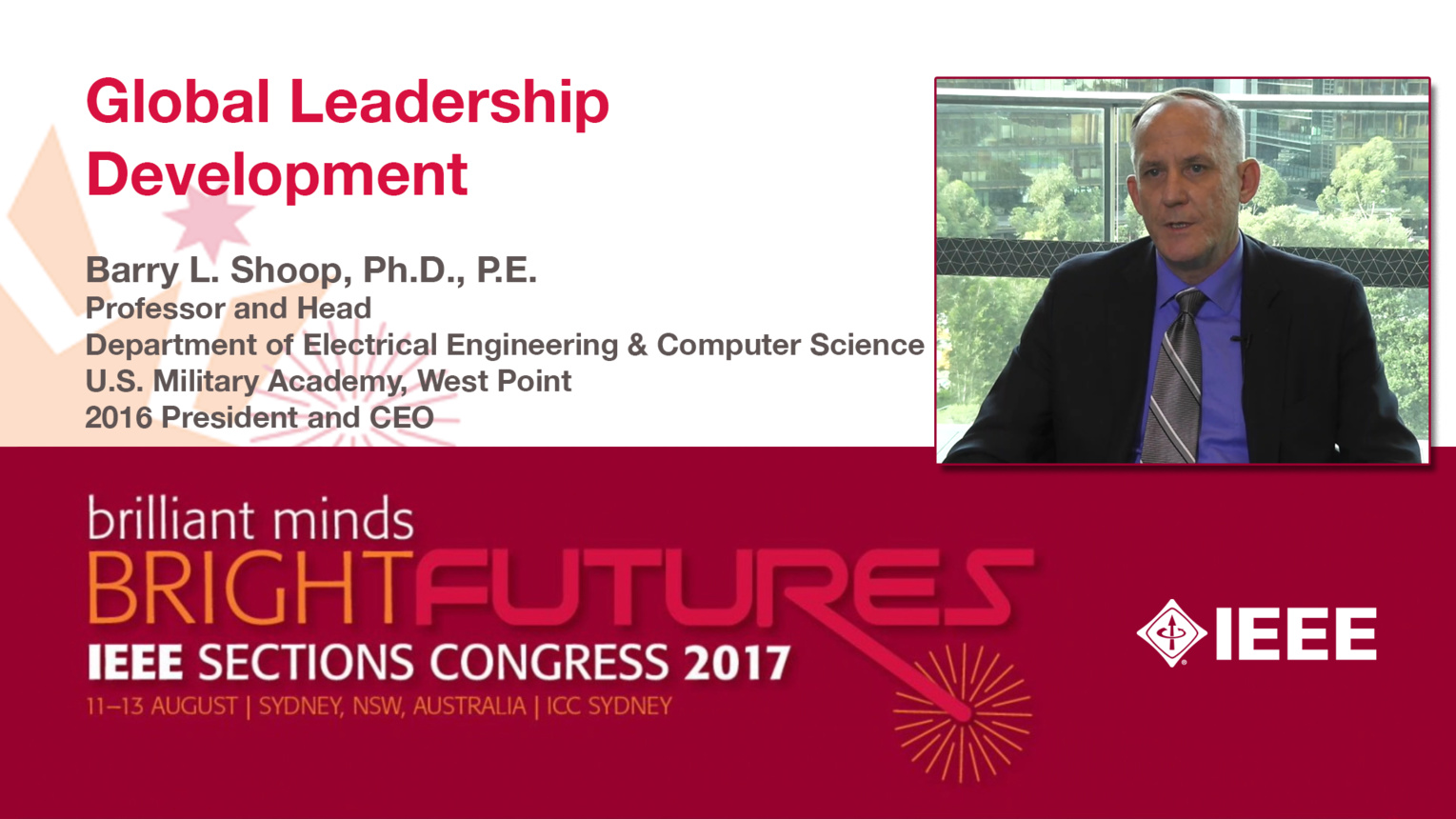Barry Shoop: Global Leadership Development - Studio Tech Talks: Sections Congress 2017