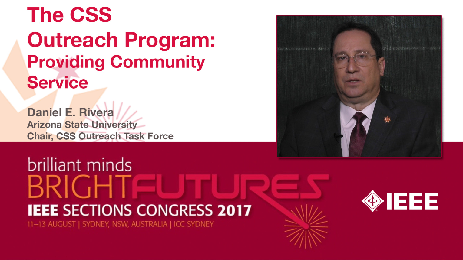 Daniel E. Rivera: The CSS Outreach Program: Providing Community Service - Studio Tech Talks: Sections Congress 2017