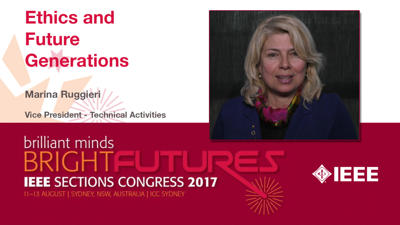 Marina Ruggieri: Ethics and Future Generations — Studio Tech Talks: Sections Congress 2017