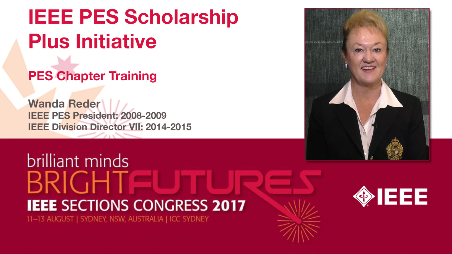 Wanda Reder: IEEE PES Scholarship Plus Initiative — Studio Tech Talks: Sections Congress 2017