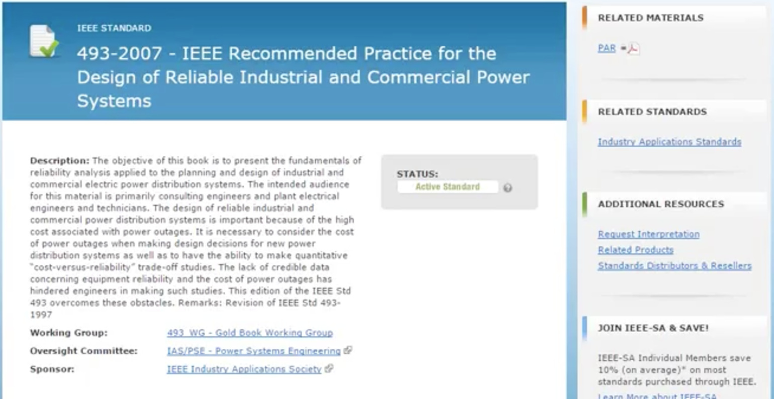 IEEE Power Reliability Standards for Health Care Campuses