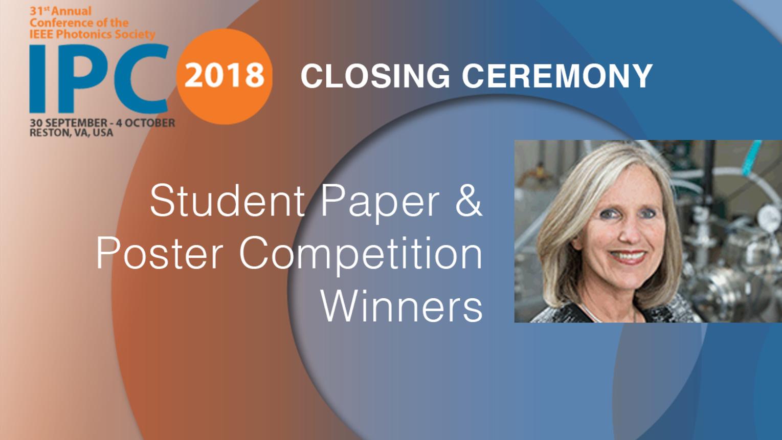 Student Paper and Poster Winners - Carmen Menoni - Closing Ceremony, IPC 2018